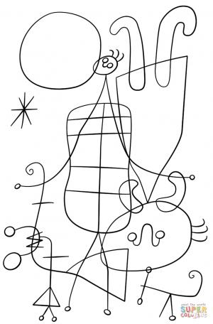 Figuras y Perro frente al Sol (Joan Miró)